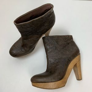 THEORY Brown Leather Block Heel Ankle Boots 38